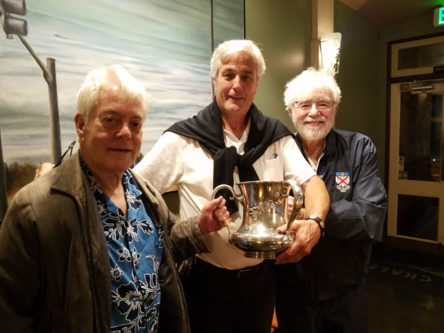 Marty Snapp, Bill Brewster and Rick Luis at Beach Chalet in San Francisco during Rick's recent trip to the American Bar Association's annual meeting. Bill is holding his grandfather's cup from the Wolf's Head senior society.