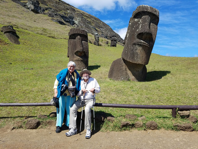 Rick and Nita Luis on Easter Island during a Yale Educational Travel trip.